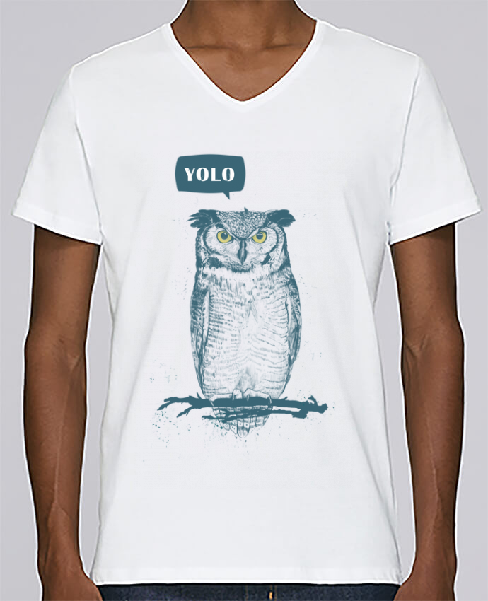 T-shirt V-neck Men Stanley Relaxes Yolo by Balàzs Solti