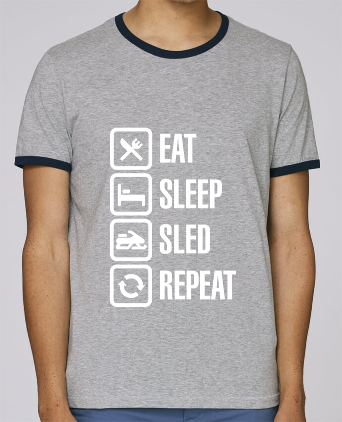 Stanley Contrasting Ringer T-Shirt Holds Eat, sleep, sled, repeat pour femme by LaundryFactory