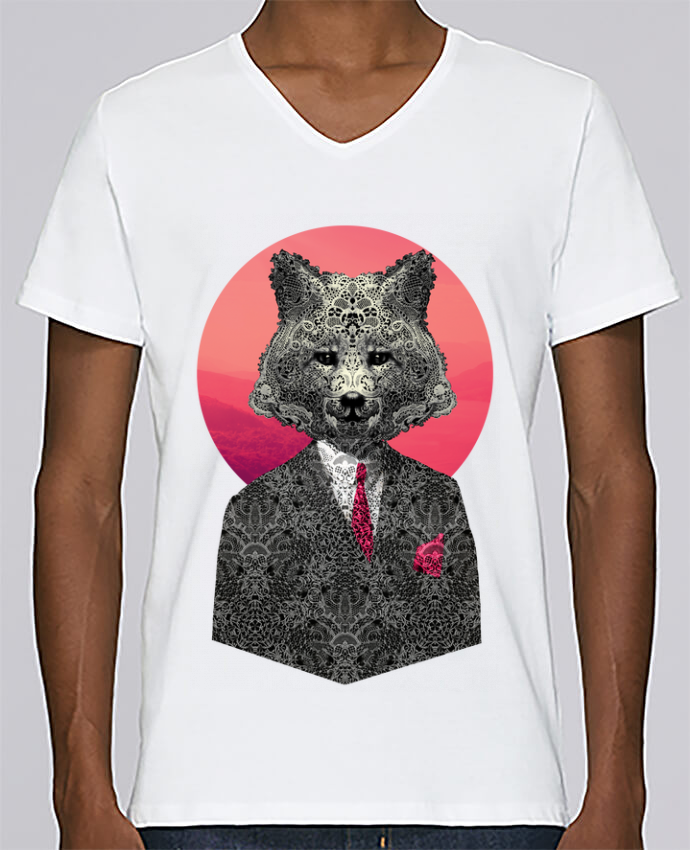 T-shirt V-neck Men Stanley Relaxes Very Important Fox by ali_gulec