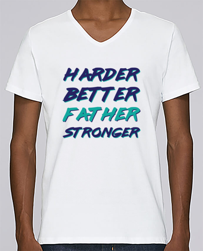 T-shirt V-neck Men Stanley Relaxes Harder Better Father Stronger by tunetoo