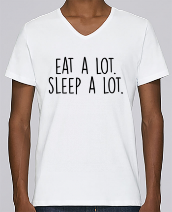 T-shirt V-neck Men Stanley Relaxes Eat a lot. Sleep a lot. by Bichette