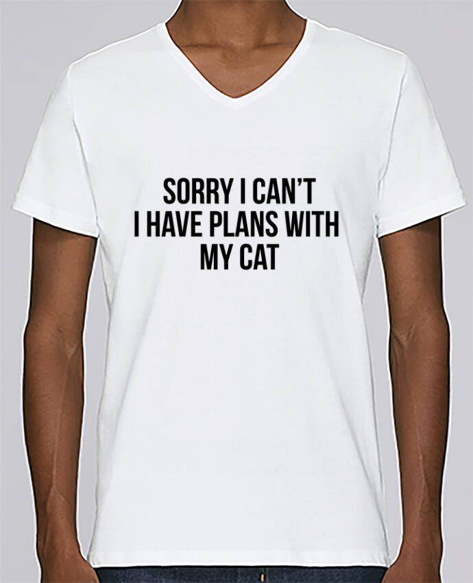 T-shirt V-neck Men Stanley Relaxes Sorry I can't I have plans with my cat by Bichette