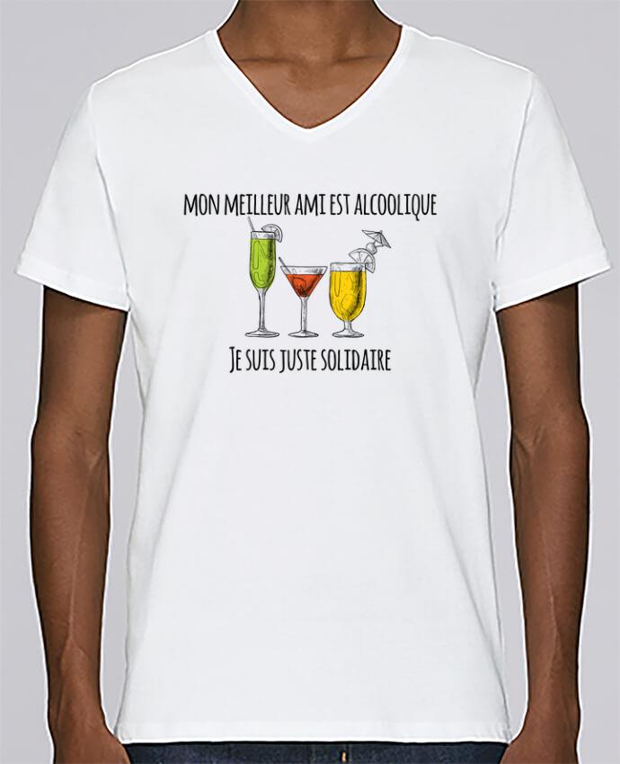 T-shirt V-neck Men Stanley Relaxes Mon meilleur ami est alcoolique et je suis juste solidaire by tunetoo