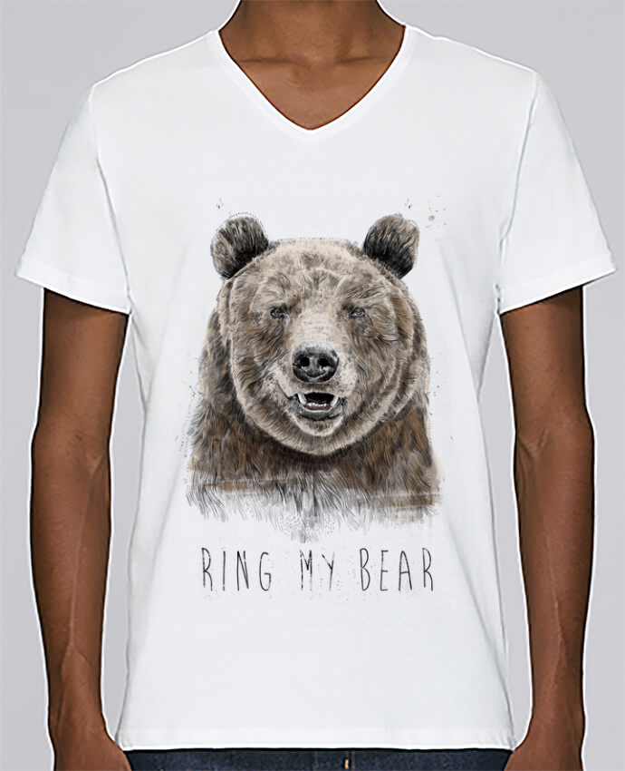 T-shirt V-neck Men Stanley Relaxes Ring my bear by Balàzs Solti