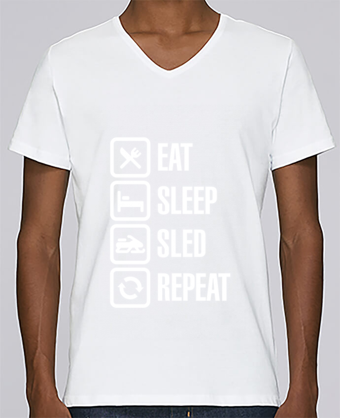 T-shirt V-neck Men Stanley Relaxes Eat, sleep, sled, repeat by LaundryFactory