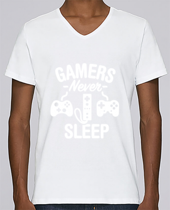 T-shirt V-neck Men Stanley Relaxes Gamers never sleep by LaundryFactory