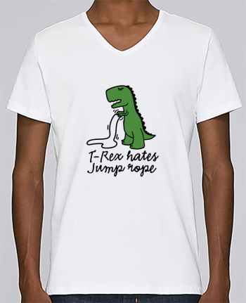 T-shirt V-neck Men Stanley Relaxes TREX HATES JUMP ROPE by LaundryFactory
