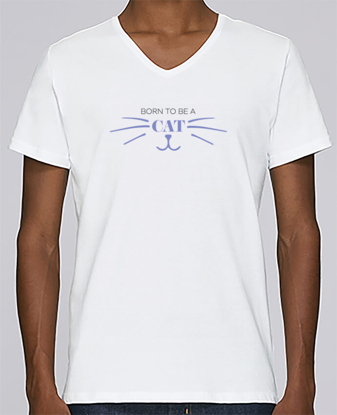 T-shirt V-neck Men Stanley Relaxes Born to be a cat by tunetoo