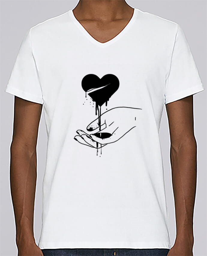 T-shirt V-neck Men Stanley Relaxes COeur qui coule by tattooanshort