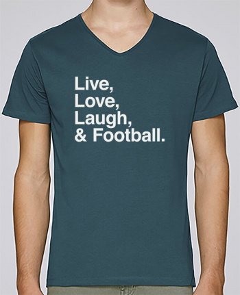 T-shirt V-neck Men Stanley Relaxes Live Love Laugh and football - white by justsayin