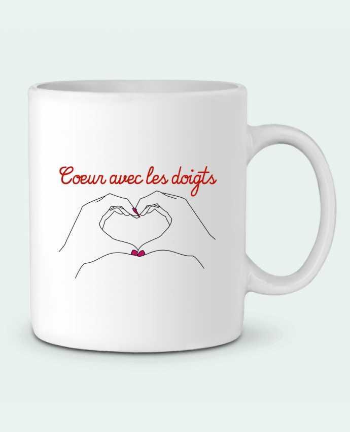 Ceramic Mug Coeur avec les doigts by WBang