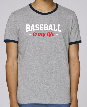 Stanley Contrasting Ringer T-Shirt Holds Baseball is my life pour femme by Original t-shirt