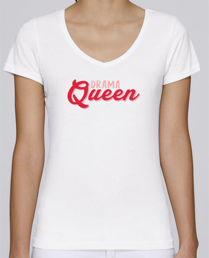 T-Shirt V-Neck Women Stella Chooses Drama Queen by tunetoo
