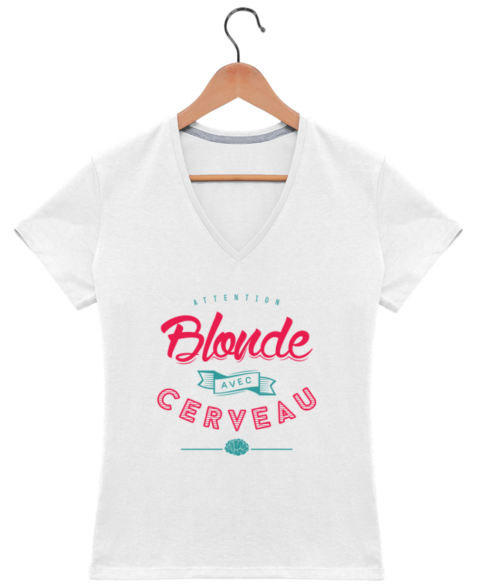 T-Shirt V-Neck Women BLONDE AVEC CERVEAU by PTIT MYTHO