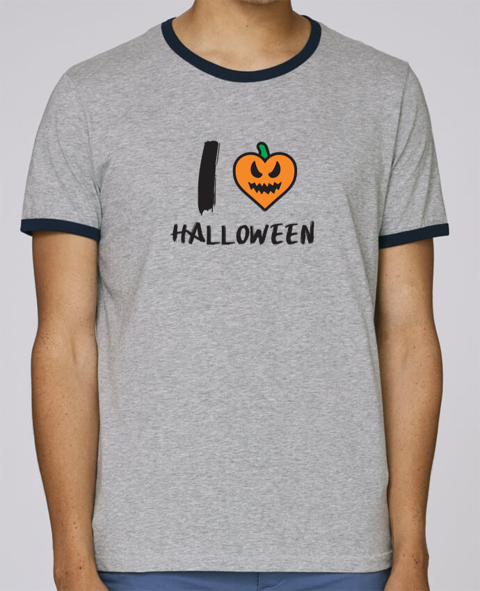 Stanley Contrasting Ringer T-Shirt Holds I Love Halloween pour femme by tunetoo