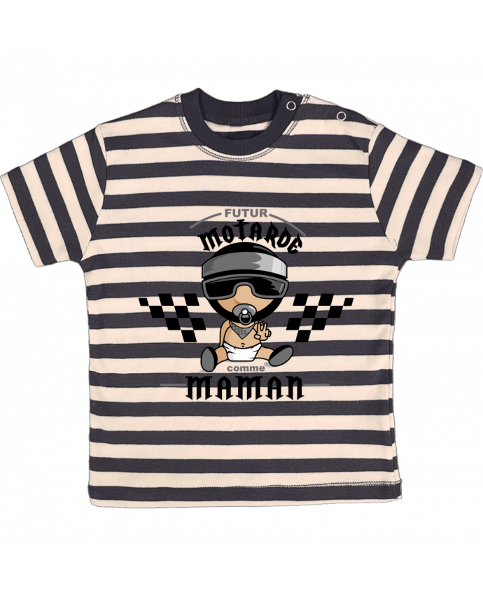 T-shirt baby with stripes Futur motarde comma maman by GraphiCK-Kids