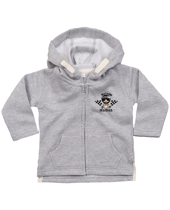 Hoddie with zip for baby Futur motarde comma maman by GraphiCK-Kids