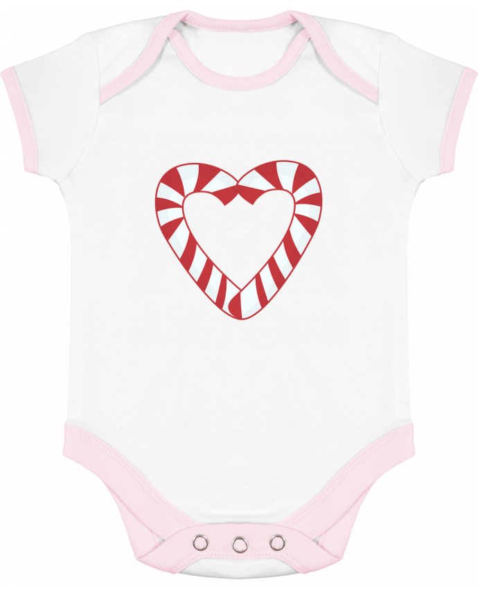 Baby Body Contrast Christmas Candy Cane Heart by tunetoo