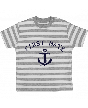 T-shirt baby with stripes Capitain and first mate by tunetoo