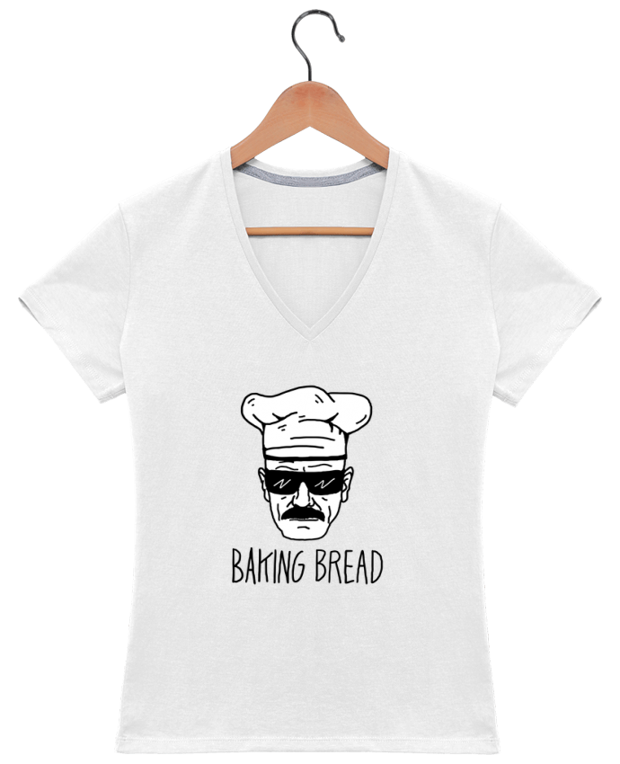 T-Shirt V-Neck Women Baking bread by Nick cocozza