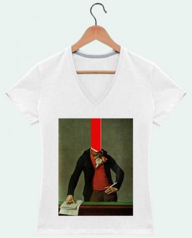 T-Shirt V-Neck Women The red stripe in the head and the cigarette in the hand by Marko Köppe