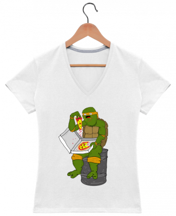T-Shirt V-Neck Women Pizza by Nick cocozza