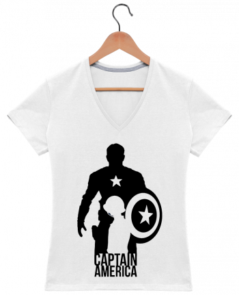 T-Shirt V-Neck Women Captain america by Kazeshini