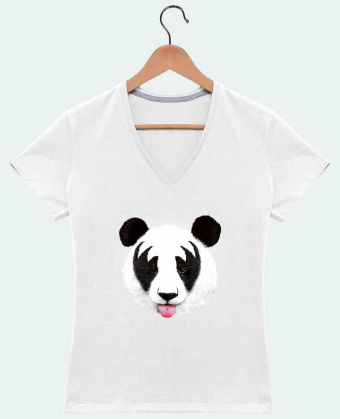 T-Shirt V-Neck Women Kiss of a panda by robertfarkas