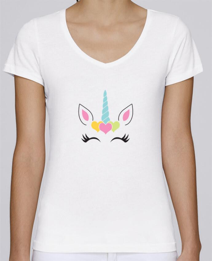 T-Shirt V-Neck Women Stella Chooses Unicorn by tunetoo