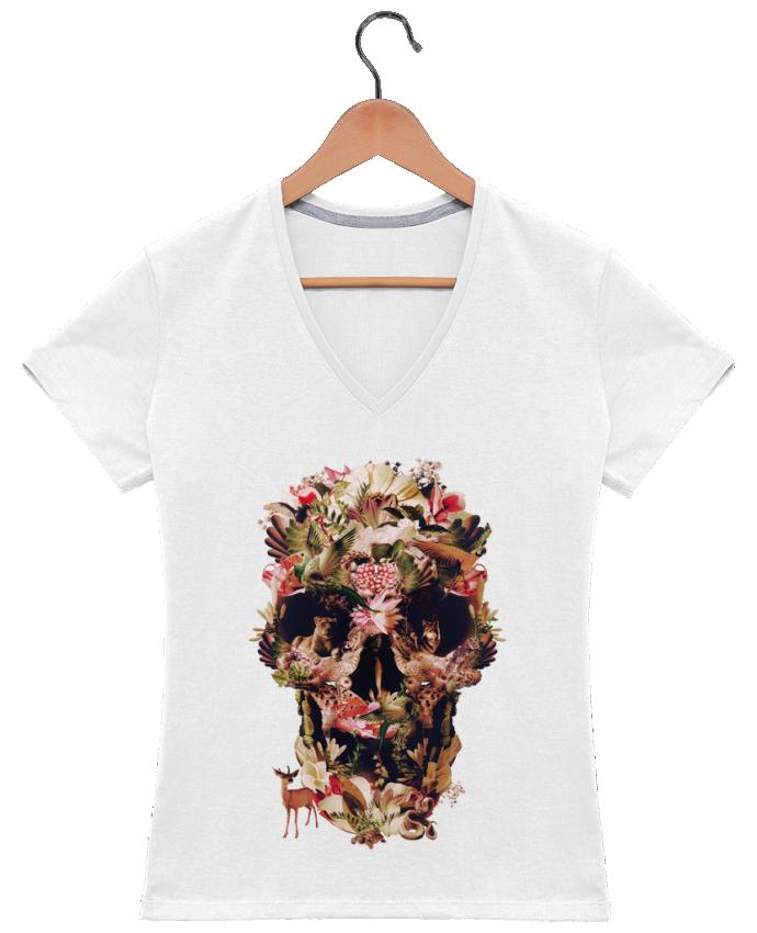 T-Shirt V-Neck Women Jungle Skull by ali_gulec