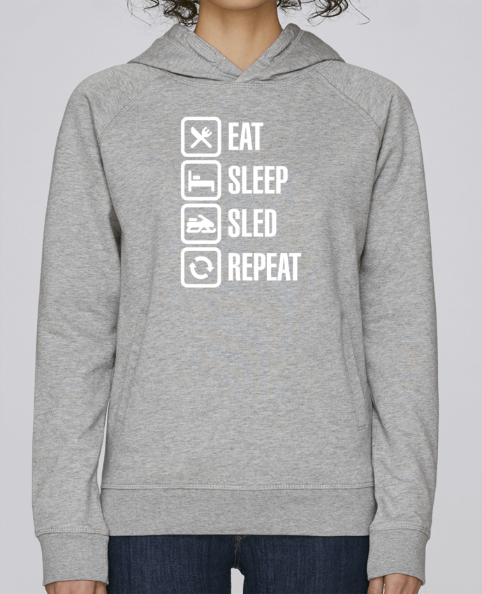 Hoodie Raglan sleeve welt pocket Eat, sleep, sled, repeat by LaundryFactory
