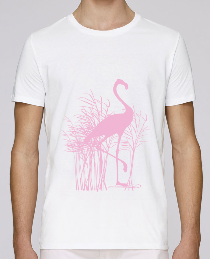 T-shirt crew neck Stanley leads Flamant rose dans roseaux by Studiolupi