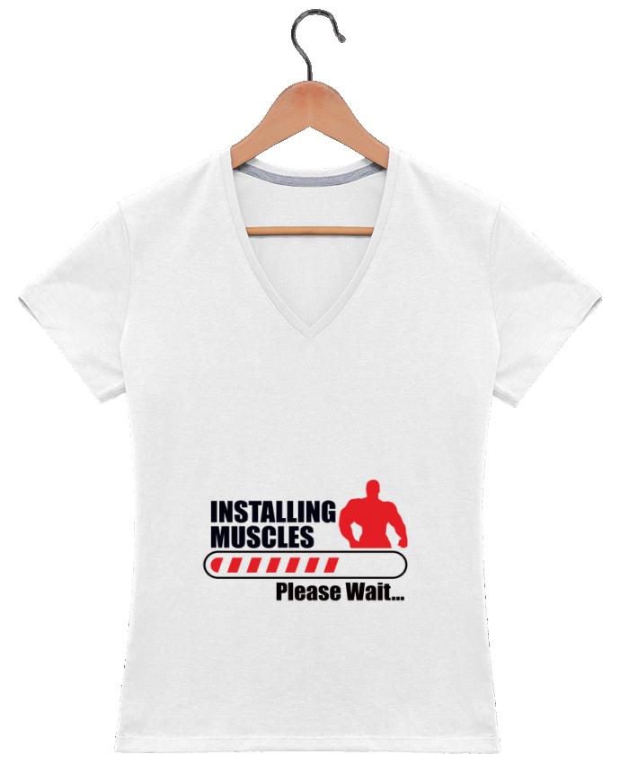 T-Shirt V-Neck Women Intalling muscles - Muscles en cours d'installation by Benichan