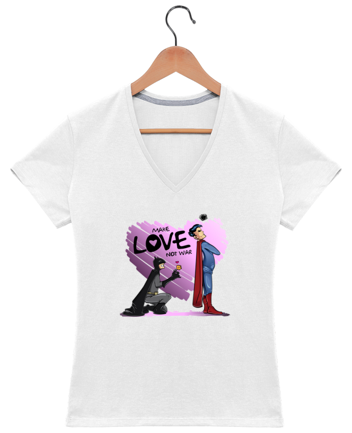 T-Shirt V-Neck Women MAKE LOVE NOT WAR (BATMAN VS SUPERMAN) by teeshirt-design.com