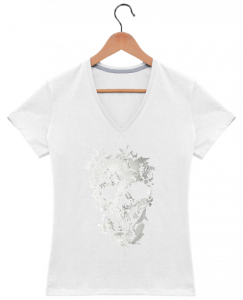 T-Shirt V-Neck Women Simple Skull by ali_gulec
