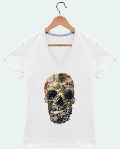 T-Shirt V-Neck Women Skull town by ali_gulec