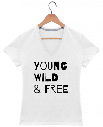 T-Shirt V-Neck Women YOUNG, WILD, FREE by tunetoo