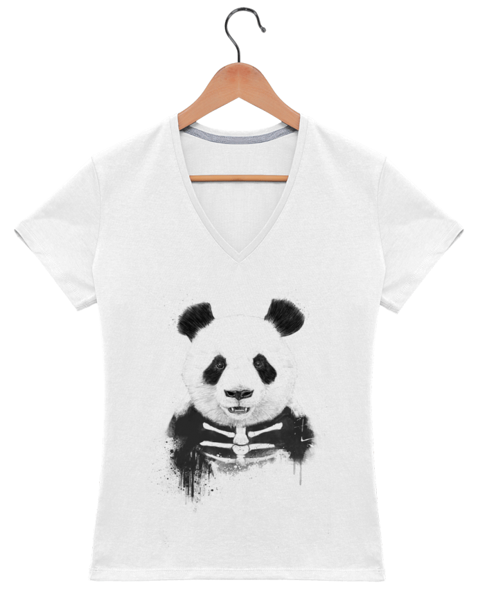 T-Shirt V-Neck Women Zombie Panda by Balàzs Solti