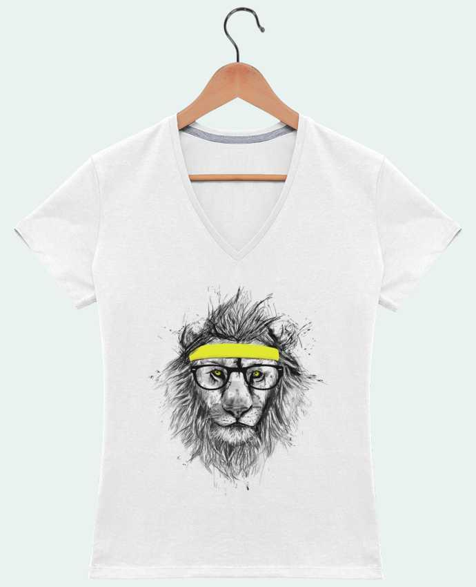 T-Shirt V-Neck Women Hipster Lion by Balàzs Solti