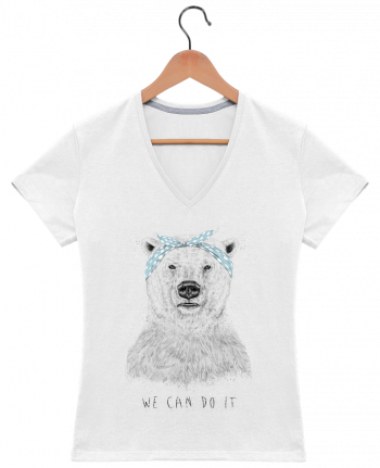 T-Shirt V-Neck Women we_can_do_it by Balàzs Solti