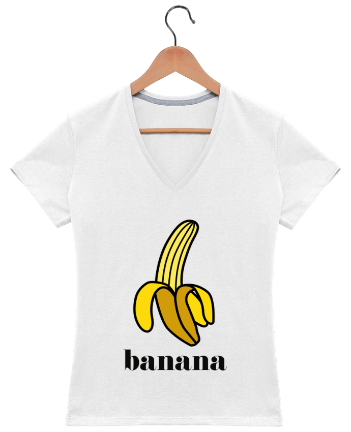 T-Shirt V-Neck Women Banana by tunetoo