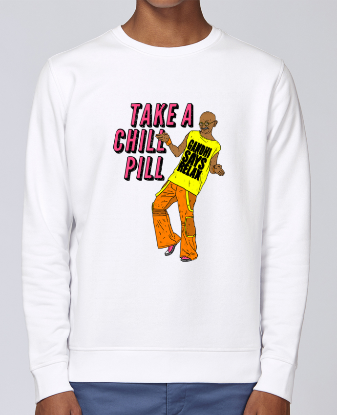 Unisex Sweatshirt Crewneck Medium Fit Rise Chill Pill by Nick cocozza