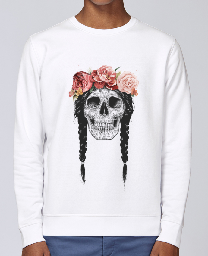 Unisex Sweatshirt Crewneck Medium Fit Rise Festival Skull by Balàzs Solti