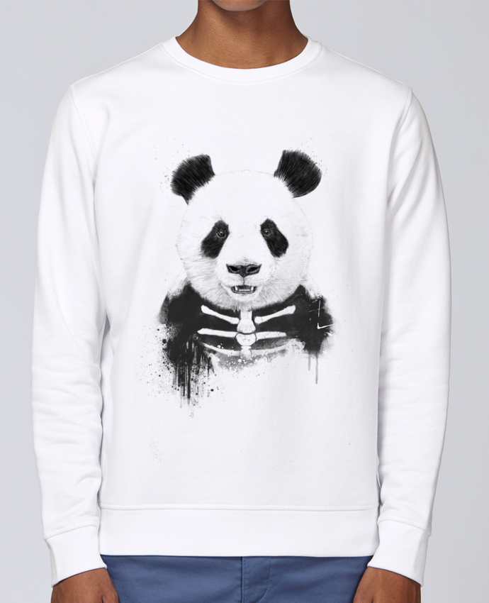 Unisex Sweatshirt Crewneck Medium Fit Rise Zombie Panda by Balàzs Solti