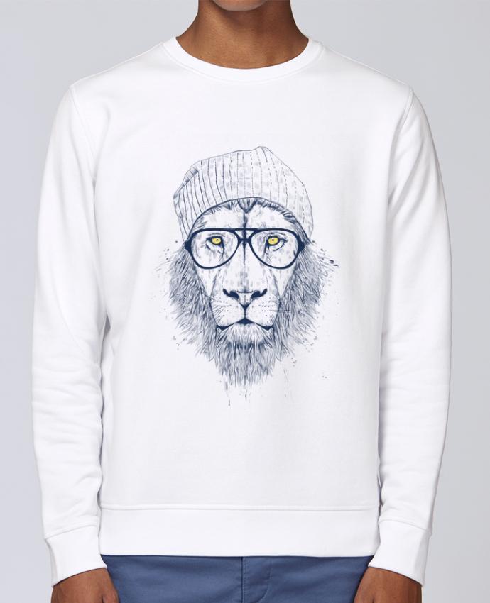 Unisex Sweatshirt Crewneck Medium Fit Rise Cool Lion by Balàzs Solti