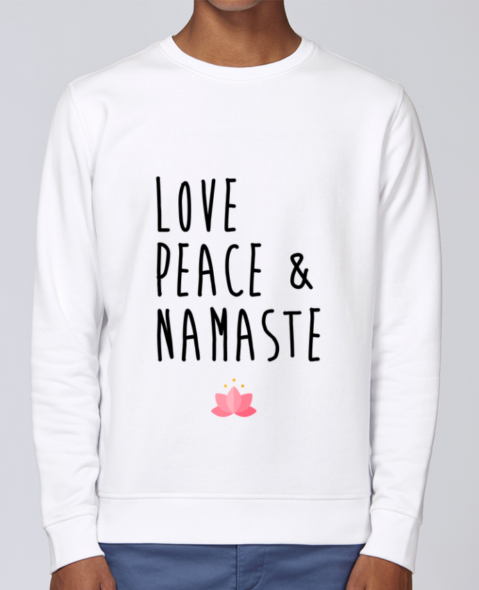 Unisex Sweatshirt Crewneck Medium Fit Rise Love, Peace & Namaste by tunetoo