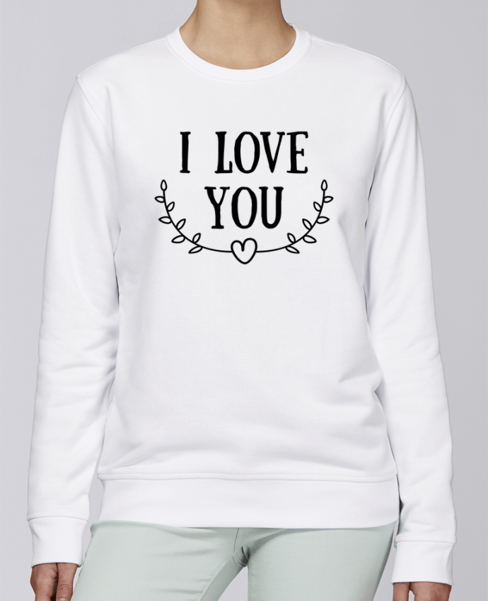 Unisex Sweatshirt Crewneck Medium Fit Rise I love you by tunetoo