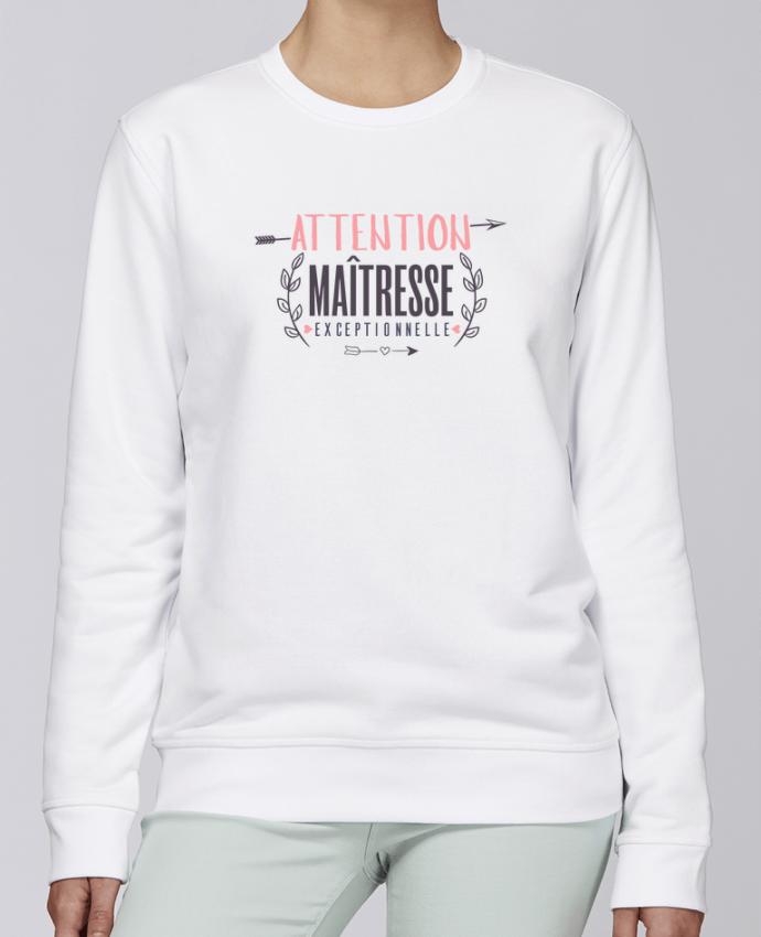 Unisex Sweatshirt Crewneck Medium Fit Rise Attention maîtresse exceptionnelle by tunetoo