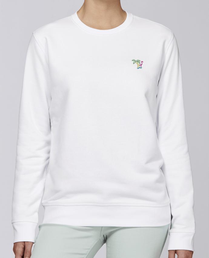 Unisex Sweatshirt Crewneck Medium Fit Rise brodé Island Flamingo by tunetoo