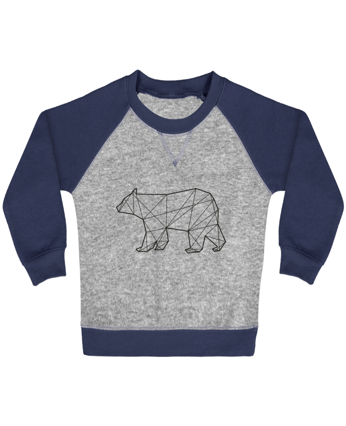 Sweatshirt Baby crew-neck sleeves contrast raglan Polygonal Bear by AB